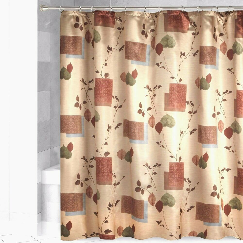 Details About Bacova LODGE LEAVES Fabric Shower Curtain Cabin Gold Faux Satin Shimmer New