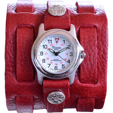 Women's Red Leather 3 Strap Tri Clasp Watch -Retro 70's Handmade Genuine Leather