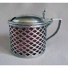 Vintage Sterling Silver Covered MUSTARD POT with CRANBERRY GLASS Insert;F837