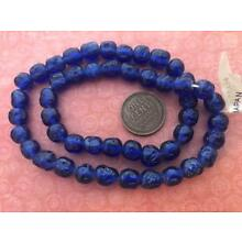 Vintage Cherry Brand 7mm Dimpled Translucent Royal Blue Glass Beads Japan 48