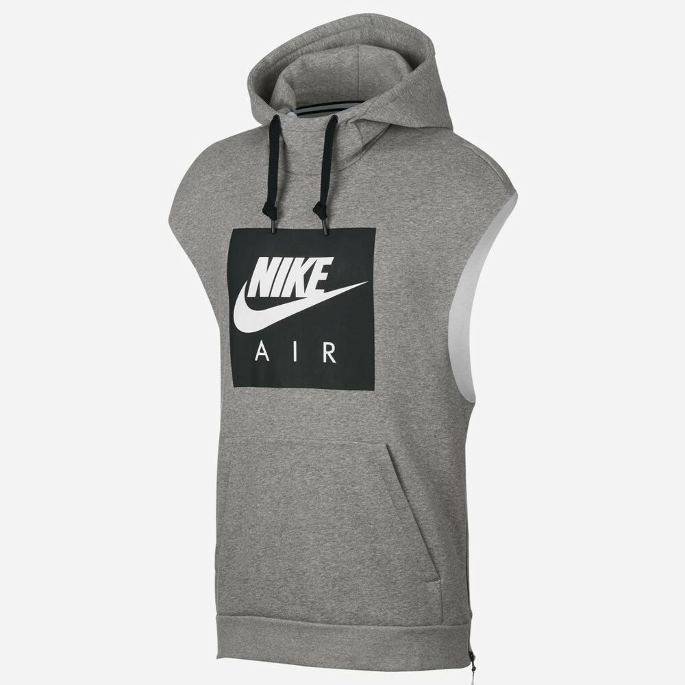 a20c495f65a7 Details about Nike Sportswear Air Mens Hoodie M Gray Black Sleeveless Gym  Casual Training
