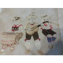 ANTIQUE VINTAGE EMBROIDERY LARGE SCENE CHILDREN GERMAN 60X17