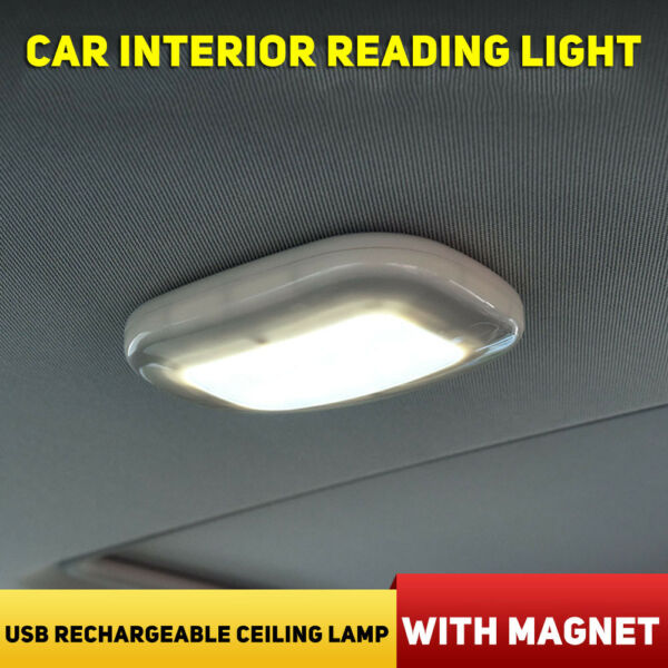 Car Interior Dome Roof Reading Light USB Rechargeable Ceiling Lamp W/Magnet New