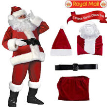 Christmas Santa Claus Costume Fancy Dress Adult Suit Cosplay Party Outfit 5PCS #