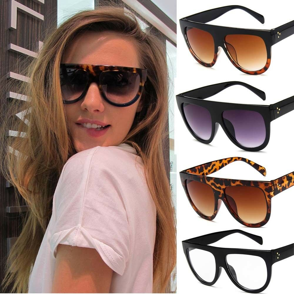 3acbba2e39 Details about Black Leopard Oversized Shadow Sunglasses Flat Top Shield  Women s Ladies Quality