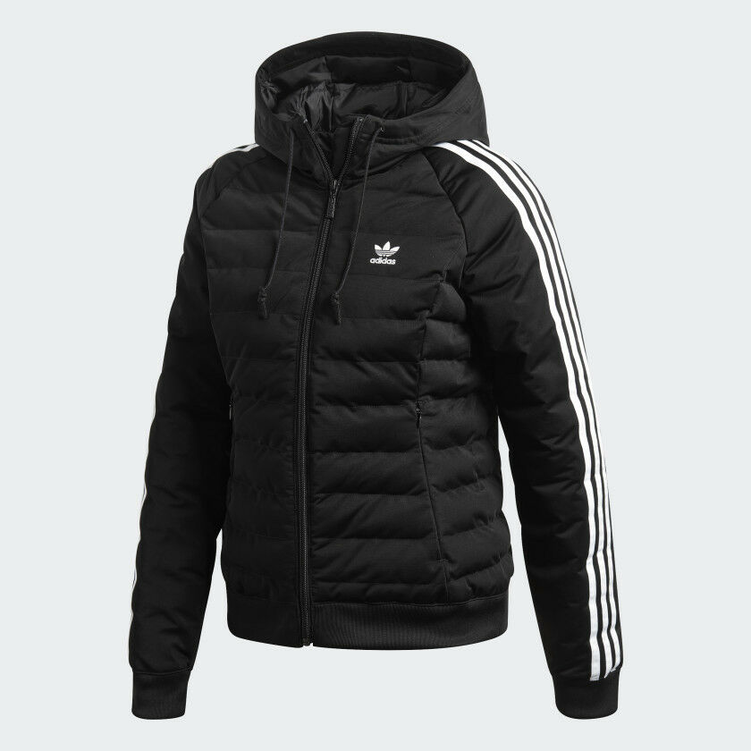 078046c9652c Details about Women s Adidas Originals Slim Jacket DH4587 Black White SZ  XXS-L Quilted Hooded