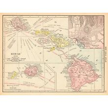 1911 Antique HAWAII State Map Vintage Map of Hawaii Hawaiian Islands Map #5780