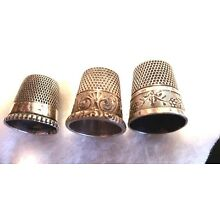 3 ANTIQUE STERLING SILVER THIMBLES 2 W ENGRAVED FANCY DESIGNS SIZES 8-9 &10 GOOD