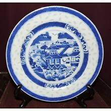 Antique Chinese Porcelain Nanking Canton Rice Grain Plate Late 19th - Early 20th