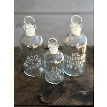 3 CHEMISTRY APOTHECARY JARS BOTTLE PHARMACY MEDICINE ANTIQUE CHEMISTRY VINTAGE