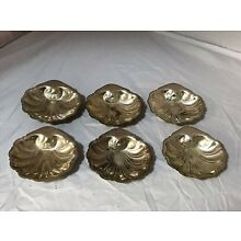 6 Sterling Silver Shell Butter Pats Nut Dishes 134g