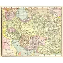 1901 Antique PERSIA MAP Vintage IRAN Map of Persia 1900s Cram's Atlas Map 6105