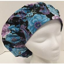 Blue and Purple Floral Print Size Large Medical Bouffant Scrub Cap Surgery Hat
