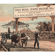 Sperm Whale Oil 1800's Gold Medal Spermaceti Sewing Machine Oil Advertising Card