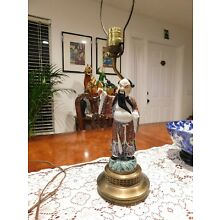 Antique Chinese Famille Rose Figural Lamp on Brass Base 16