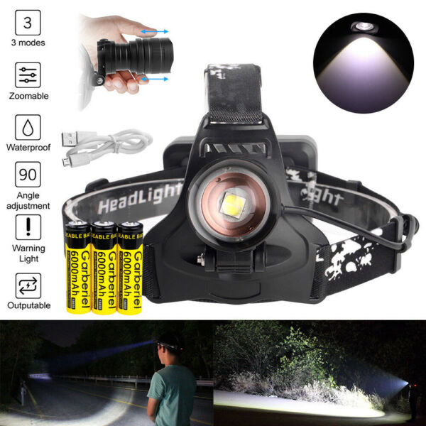 200000LM Garberiel LED Headlamp USB Rechargeable 18650 Headlight Zoom Head Torch