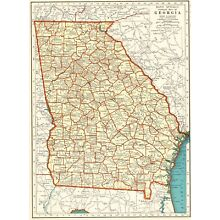 1937 Vintage Map of GEORGIA Antique Georgia State Map 1930s Atlas Map 6107