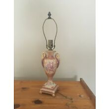 VINTAGE  VICTORIAN  HAND PAINTED  LAMP