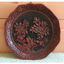 Finely Carved Chinese Black & Red Cinnabar Type Lacquer Plate - Chrysanthemum