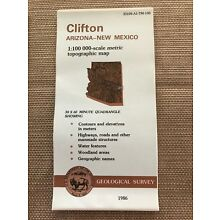 U.S.Geological Survey (USGS) Metric Topographic Map CLIFTON Arizona - NM 1986