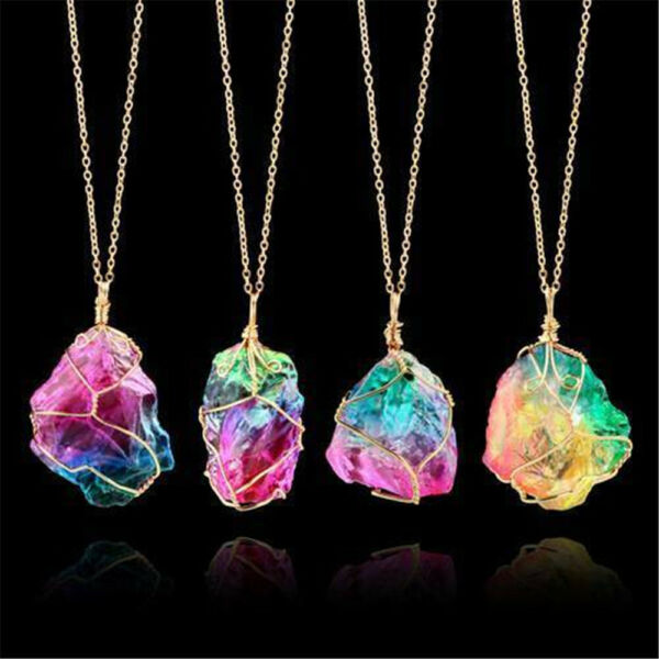 Rainbow Stone Natural Crystal Chakra Rock Chain Quartz Pendant Necklace Jewelry