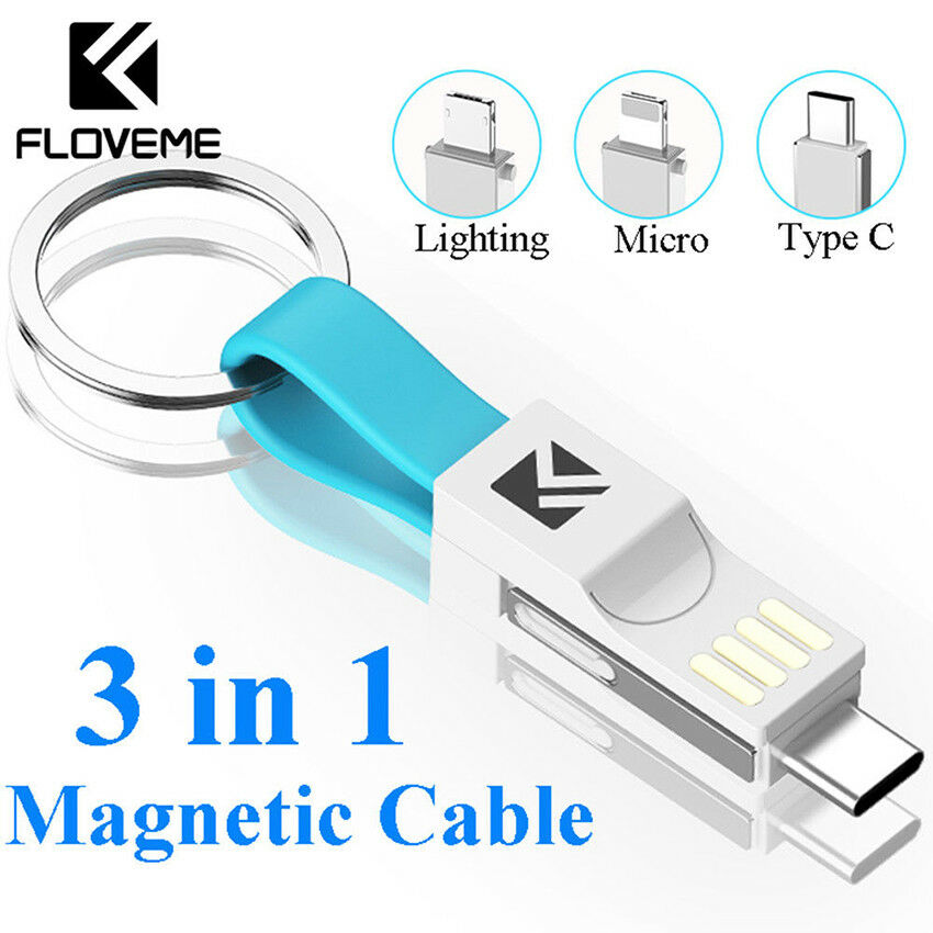 Computer & Office 3 In 1 Keychain Usb Magnetic Charging Cable Sync Data Cable For Iphone Android Type-c Mini Portable Mobile Phone Charger For Sale