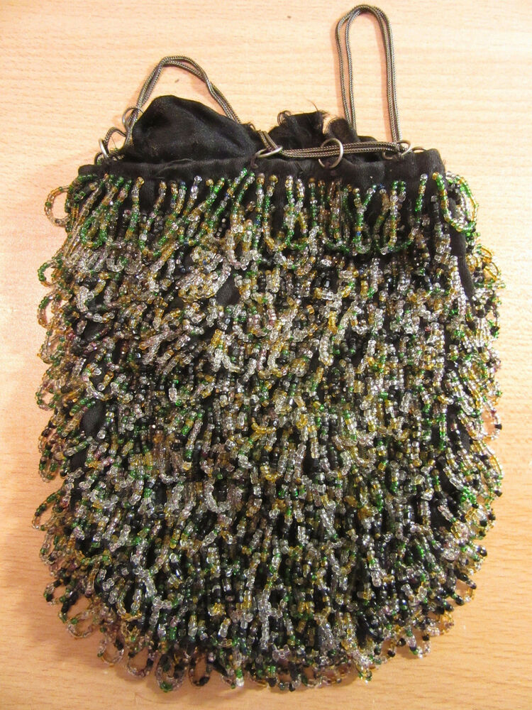 Details about Vintage Victorian Czech beaded handbag purse w/ sterling  drawstring chain