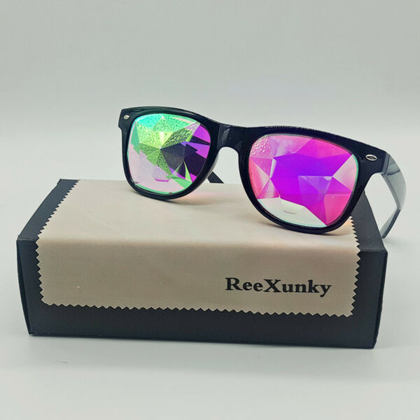 Square Kaleidoscope Glasses Rainbow EDM Rave Light Diffraction Festival Eyewear