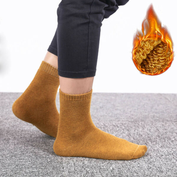 Mens 1 Pairs Non Elastic Loose Wide Top Padded Cushioned Thermal Wool Boot Socks