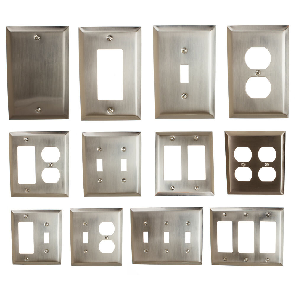 Details About Gliderite Brushed Nickel Light Switch Cover Duplex Outlet Wall Plates