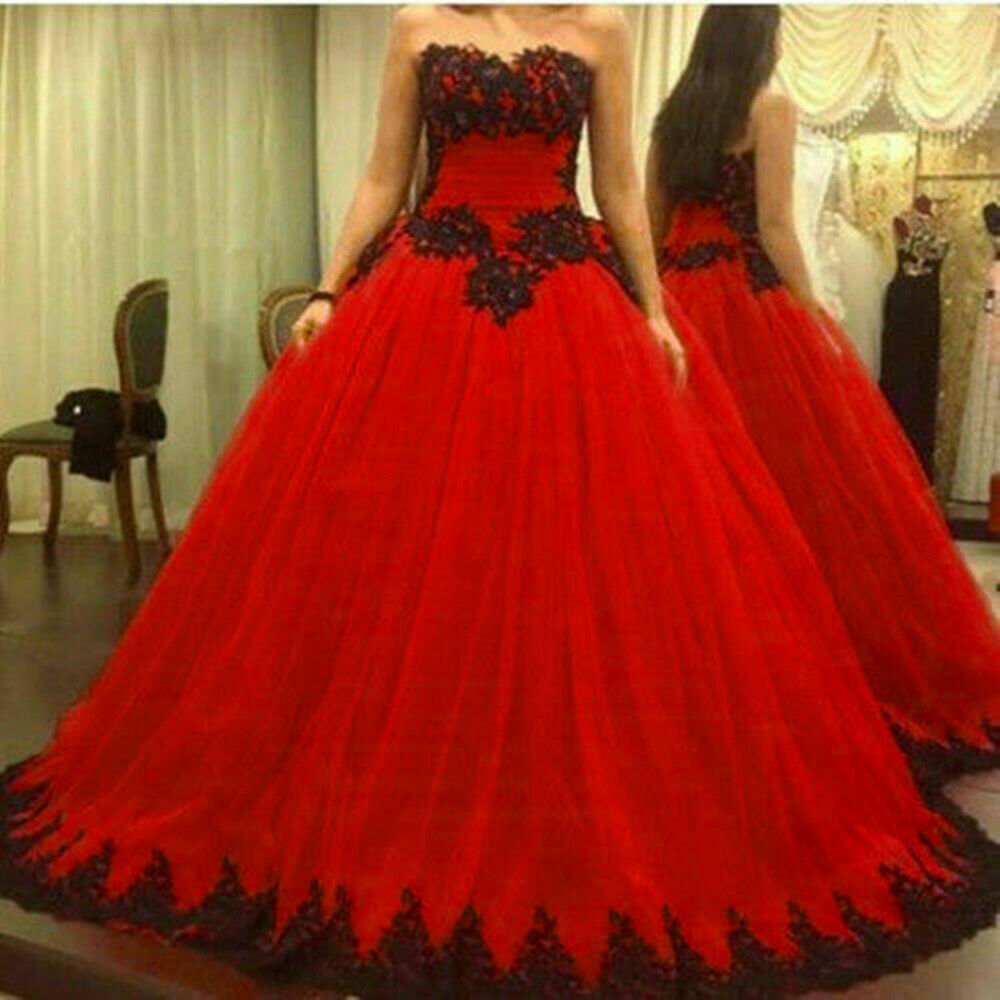 Black And Red Lace Ball Gown Wedding Dresses Gothic Bridal Gowns