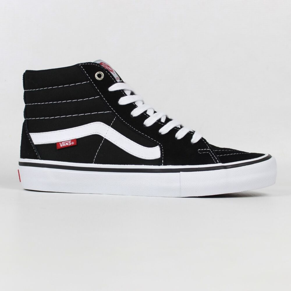 Details about Vans Sk8-Hi Pro Shoes Black White Skateboard High Top  Trainers Old Skool Free UK 83fa684a91fa