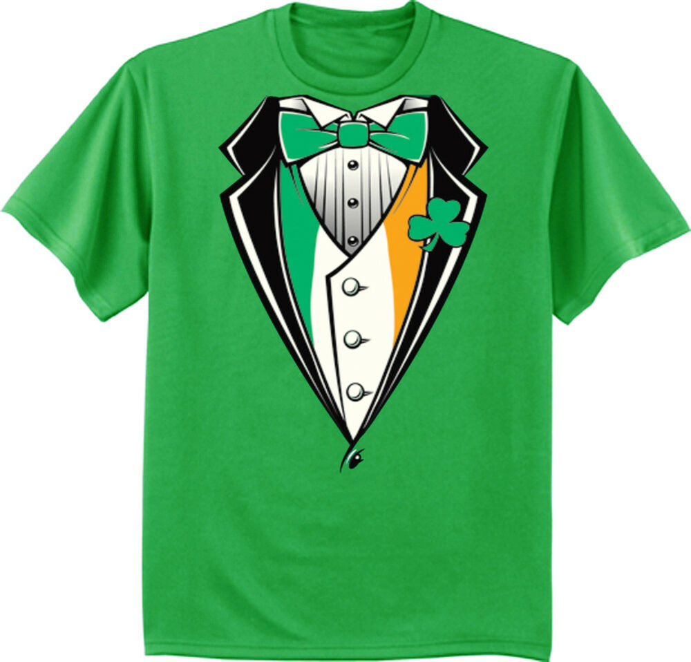 82127ed4d Big and Tall T-shirt - St. Patricks Day Funny Irish Tuxedo Design Green Tee  | eBay