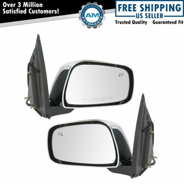 Mirror Power Heater Chrome LH RH Kit Pair for Nissan Frontier Pickup Truck New