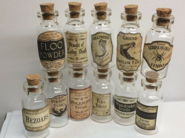 11 X   MINIATURE WIZARD POTION LABELS & 11 GLASS BOTTLES 5ML