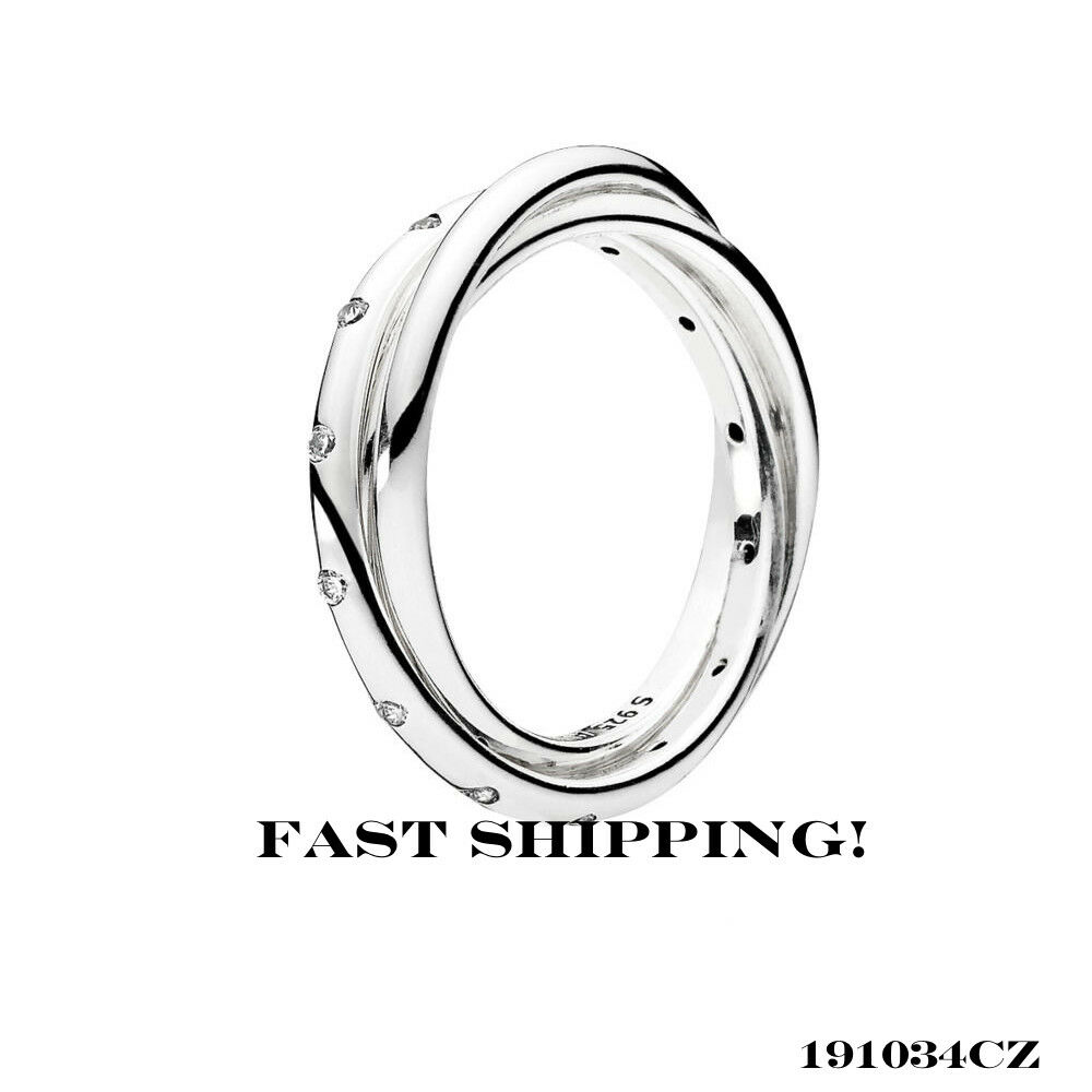 82d159cfb Details about Authentic Pandora swirling Symmetry Silver Trio Ring 191034CZ  50mm (5)