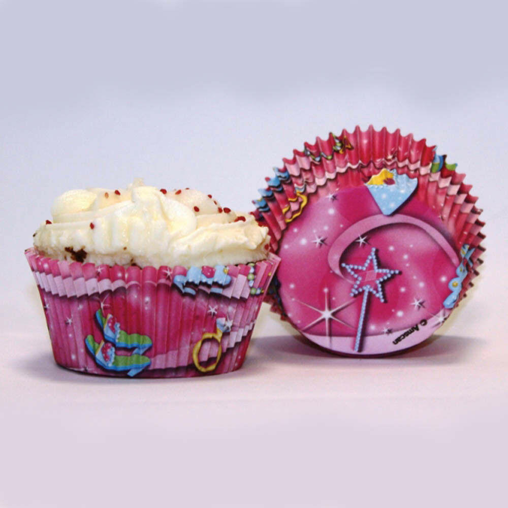 Details About 50 Pink Jewel Princess Childrens Birthday Party Paper Cupcake Cup Cake Cases