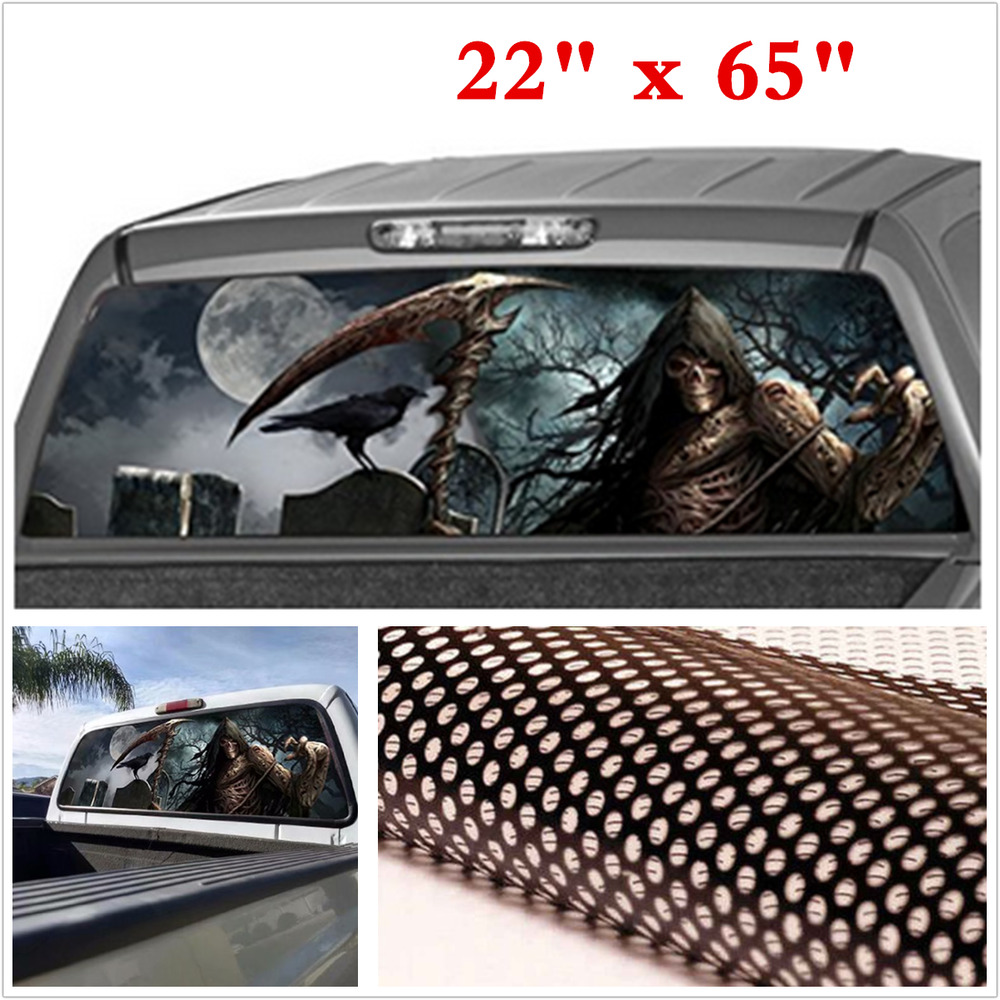 Details about 22x65 grim reaper cemetery rear window graphic tint decal sticker for car truck