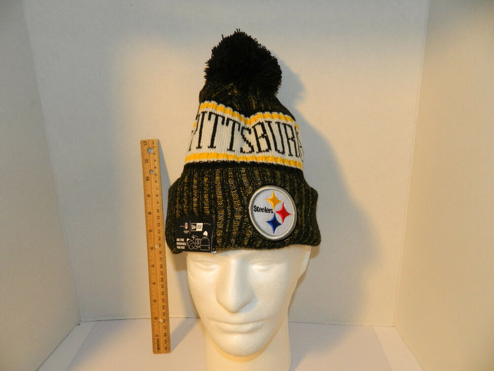 b86659bf2 Details about Pittsburgh Steelers Knit NFL New Era Hat Winter Pom Beanie  Knit Cap