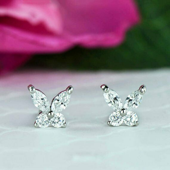 a8852e7ad Details about 3/4 ctw Marquise and Round Diamond Butterfly Stud Earrings  14K White Gold FN
