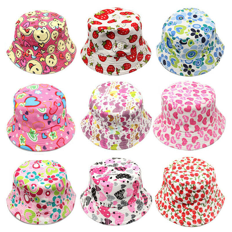 c058741bfa64f Details about Kids Girls Baby Summer Toddler Outdoor Floral Bucket Hat  Canvas Sun Cap Novelty