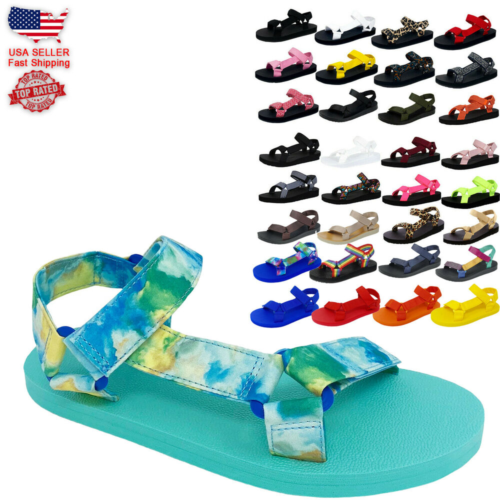 fb0ac873a019 Details about Women s Kid Girl and Boy EVA Rubber Double Buckle Slides  Comfort Footbed Sandals