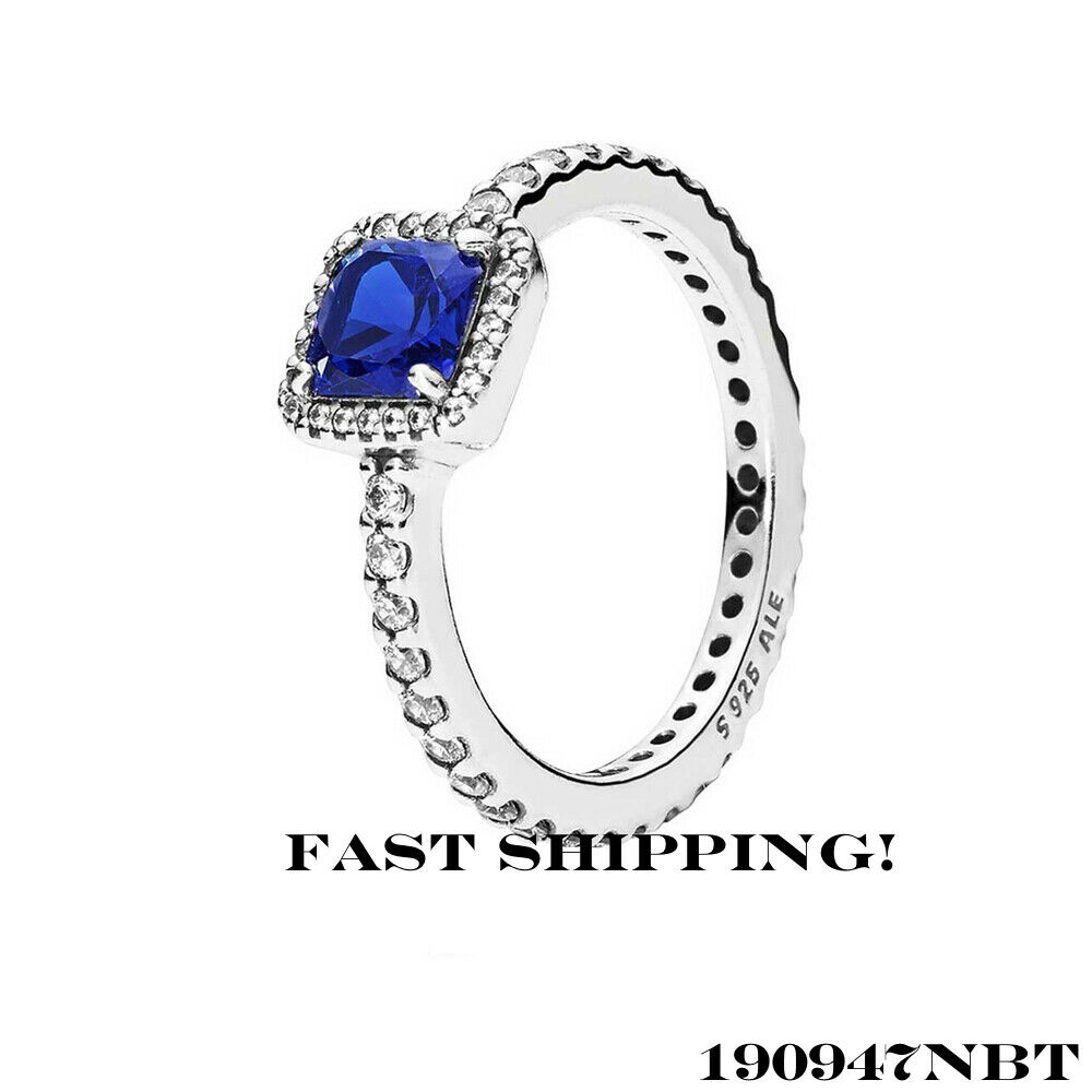 453c02552 Details about Authentic Pandora Timeless Elegance Ring, Blue Crystal &  Clear CZ 190947NBT 54mm