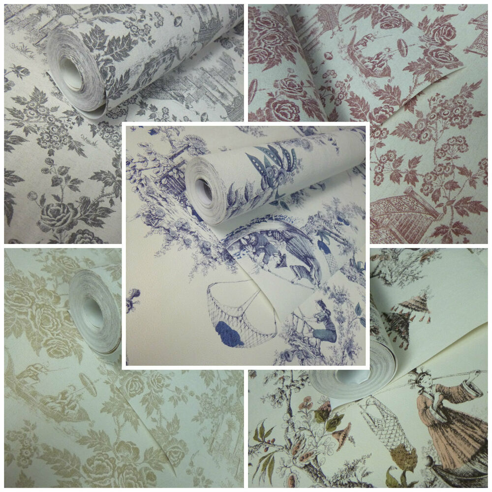 Details About Chinese Toile De Jouy Wallpaper Shabby Chic Paste The Wall Vinyl