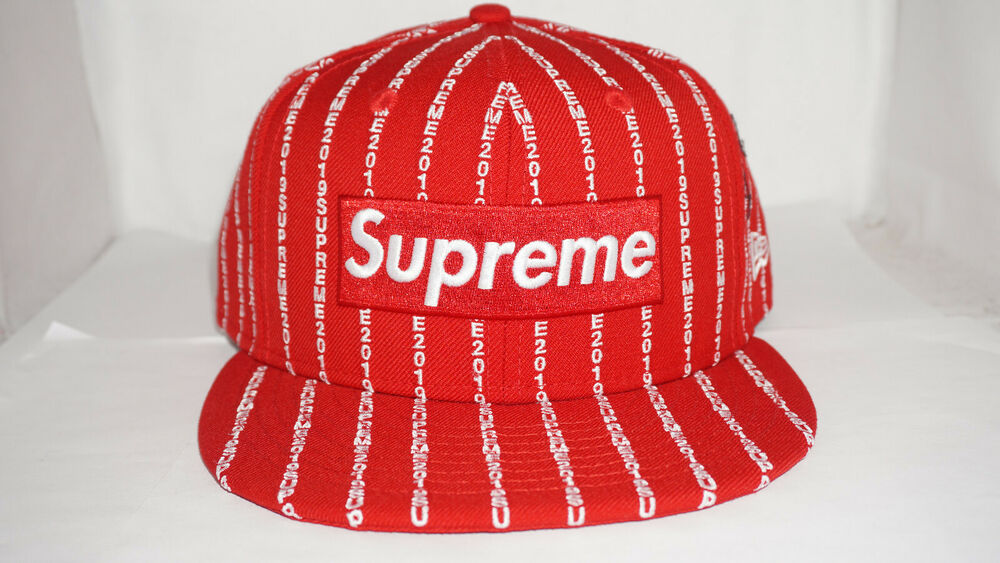 Details about Supreme New Era 59 Fifty Fitted 7 3 8 Red Text Stripe Box  Logo Hat SS19 On Hand a0b5bdb92e64