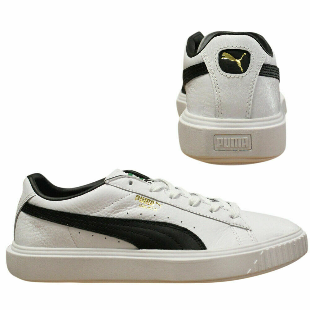 dc7b61841159bb Puma Breaker Leather Low Top Mens White Navy Lace Up Trainers 366078 ...