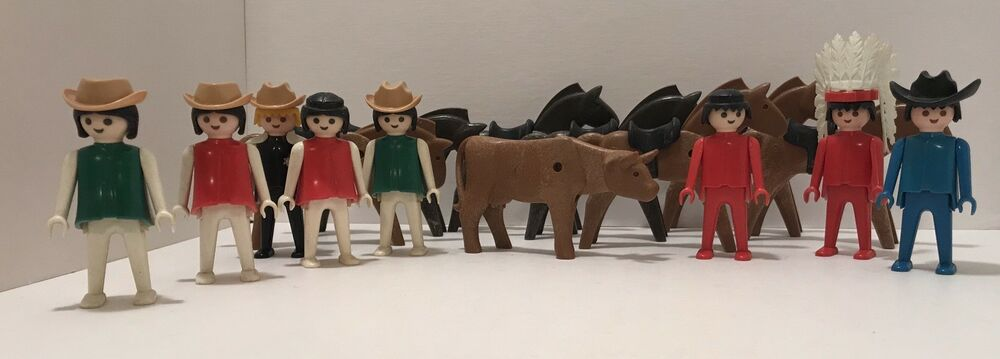 229f152665c Details about Vintage 1974 Playmobil Geobra Lot of 16 Horses Cow Chief  Sheriff Cowboy Cowgirl