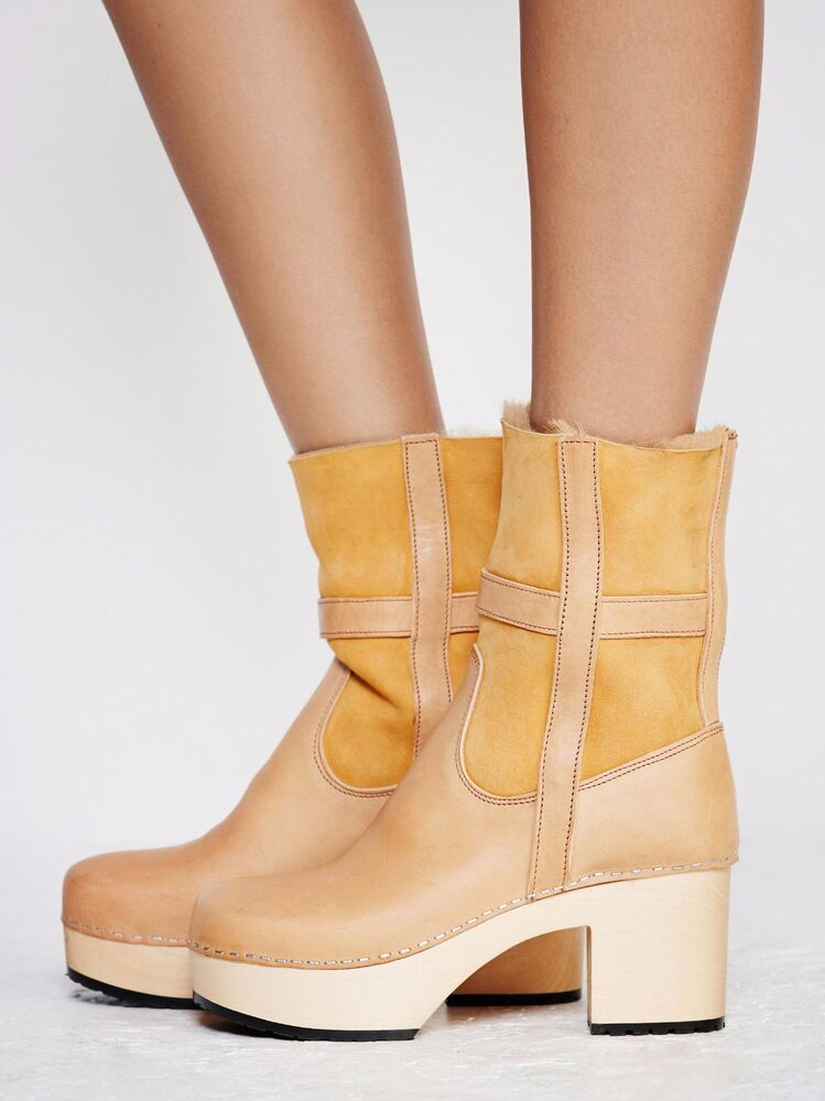 21e3e8f2e01 Details about SWEDISH HASBEENS SHOES HIPPIE CLOG BOOTS SHEARLING BOOTIES 38  FREE PEOPLE NEW