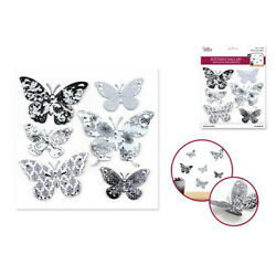 BUTTERFLIES 6 wall stickers 3D decals with foil accents Black & White bug insect