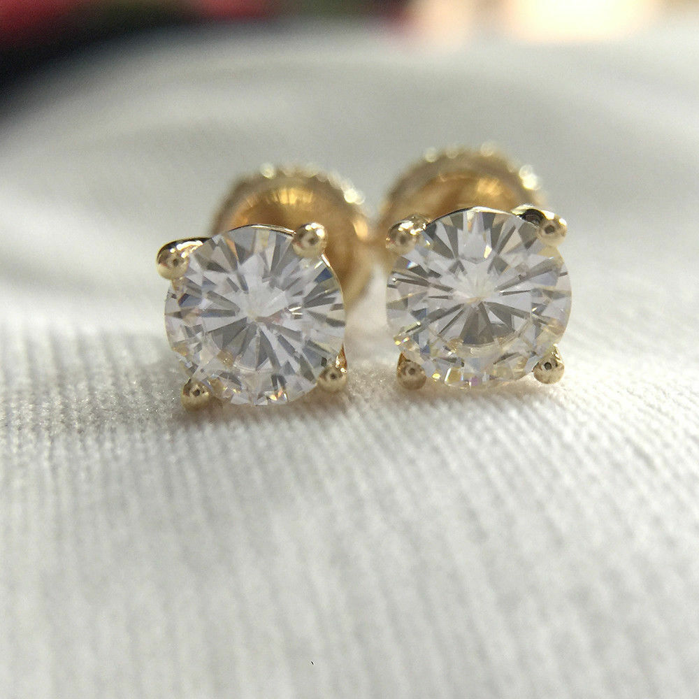 8b6f0052f Details about 1.75ct Solitaire Moissanite Stud Earring Screw Back Solid 14k  Yellow Gold Finish